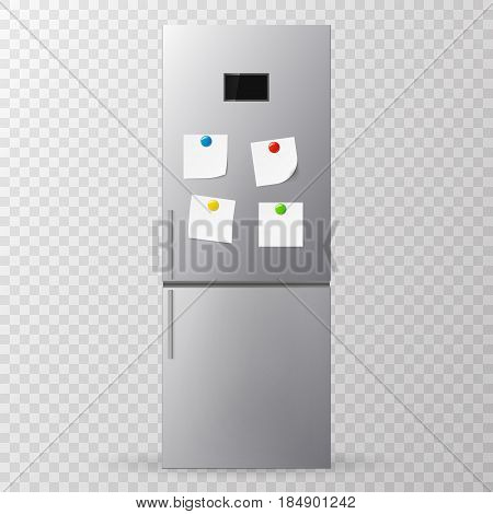 Blank paper and stick paper on refrigerator door. Fridge isolated on white background. Vector illustration.