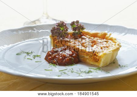 Red pepper flan with tomato chutney
