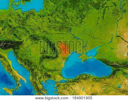 Moldova On Physical Map