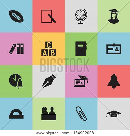 Set Of 16 Editable University Icons. Includes Symbols Such As Alphabet Cube, Semicircle Ruler, Student And More. Can Be Used For Web, Mobile, UI And Infographic Design.