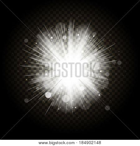 Star burst with sparkles. Transparent glow light effect. Star burst isolated on transparent background. Vector illustration.