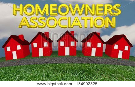 Homeowners Association Group Houses Homes 3d Illustration poster