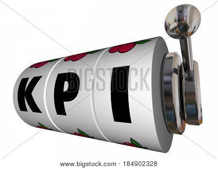 KPI Key Performance Indicators Slot Machine Wheels Jackpot 3d Illustration