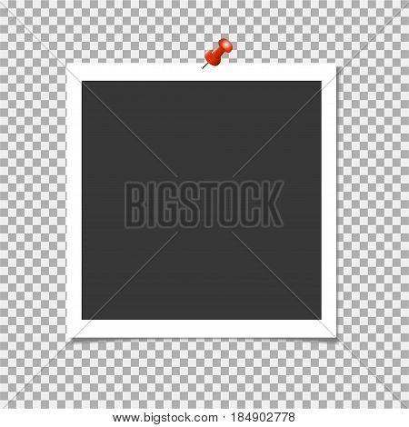 Photo Frame With Shadow And Red Pin On Isolate Background. Vector Template For Your Trendy And Styli