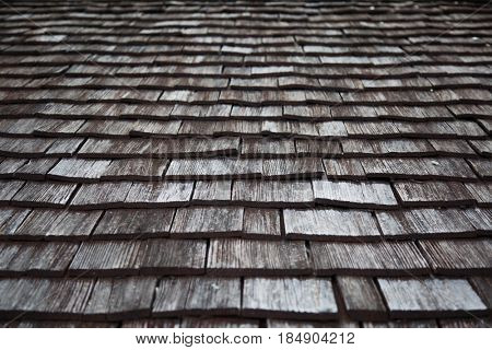 Traditional wooden shingles roof of an Austrian house