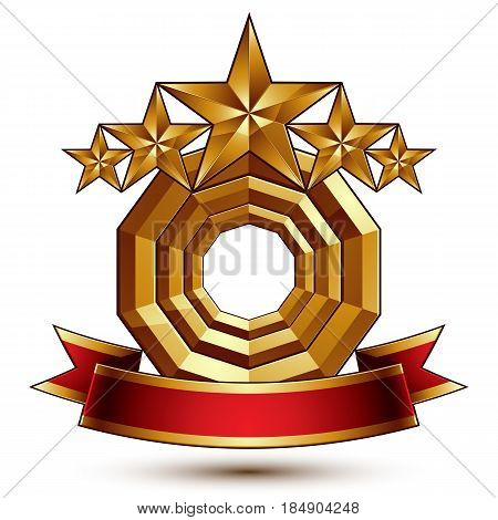 3d vector classic royal symbol with sophisticated five golden stars and red decorative wavy ribbon glossy golden element isolated on white background. Elegant blazon.