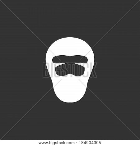 Ninja vector logo isolated on a black background. Icon silhouette design template. Simple symbol concept in flat style. Abstract sign pictogram for web mobile and infographics
