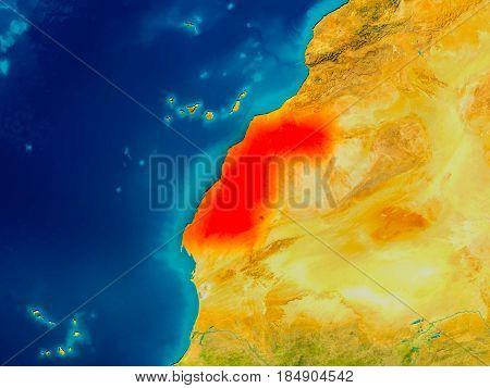 Western Sahara On Physical Map