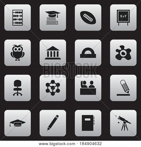 Set Of 16 Editable University Icons. Includes Symbols Such As Pencil, Workbook, Binoculars And More. Can Be Used For Web, Mobile, UI And Infographic Design.