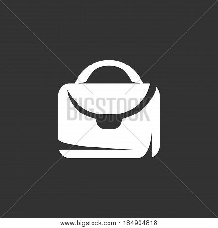 Suitcase vector logo isolated on a black background. Bag icon silhouette design template. Simple symbol concept in flat style. Abstract sign pictogram for web mobile and infographics