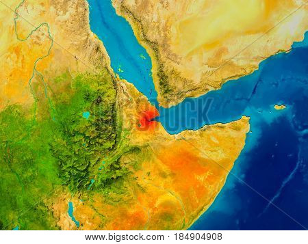 Djibouti On Physical Map