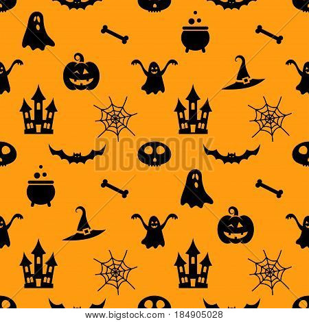 Seamless pattern with different black Halloween icons