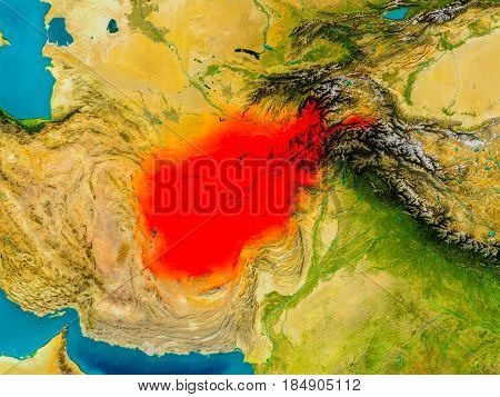 Afghanistan On Physical Map