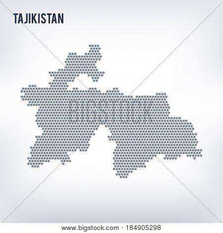 Vector Hexagon Map Of Tajikistan On A Gray Background
