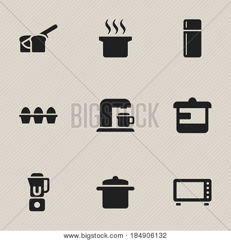 Set Of 9 Editable Food Icons. Includes Symbols Such As Egg Carton, Drink Maker, Cookware And More. Can Be Used For Web, Mobile, UI And Infographic Design.