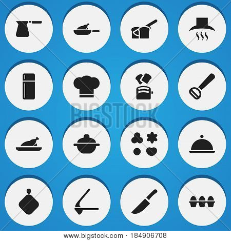 Set Of 16 Editable Food Icons. Includes Symbols Such As Crusher, Fried Chicken, Kitchen Hood And More. Can Be Used For Web, Mobile, UI And Infographic Design.
