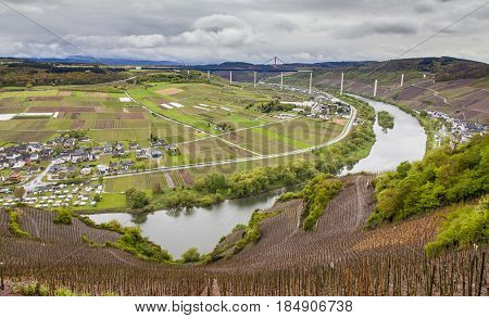 Moselle Valley Landscape  And View On High Moselle Bridge Construction Side Rheinland Pfalz Germany