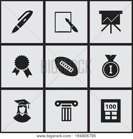 Set Of 9 Editable University Icons. Includes Symbols Such As Calculator, Oval Ball, Notepaper And More. Can Be Used For Web, Mobile, UI And Infographic Design.