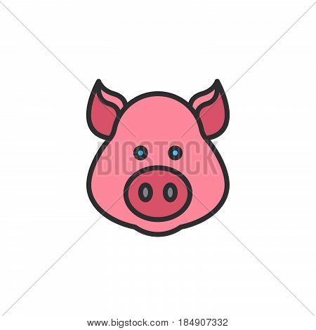 Pig head line icon filled outline vector sign linear colorful pictogram isolated on white. Symbol logo illustration