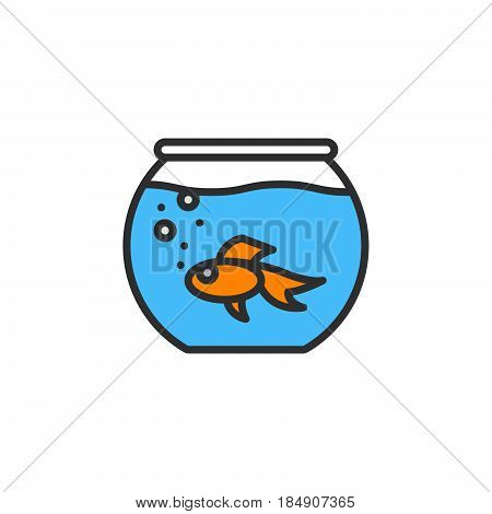 Aquarium with fish line icon filled outline vector sign linear colorful pictogram isolated on white. Symbol logo illustration