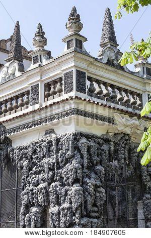 Dripstone Wall in Wallenstein Palace (Valdstejnska Zahrada) in Prague Czech Republic