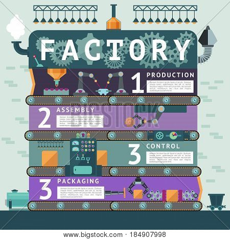 Industrial factory infographic concept with automated processes of product manufacturing assembling control and packaging systems vector illustration