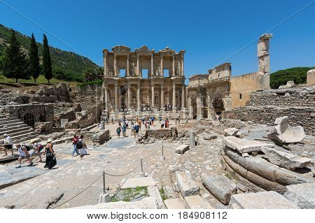EPHESUS, TURKEY - MAY 24, 2015: The Library of Celsus is an ancient Roman building in Ephesus, Anatolia, now part of Selcuk, Turkey.