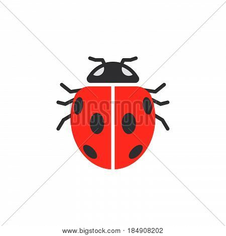 Insect ladybird beetle icon vector filled flat sign solid colorful pictogram isolated on white. Symbol logo illustration