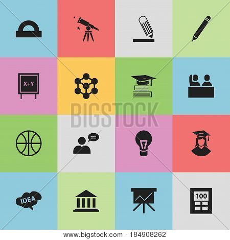 Set Of 16 Editable School Icons. Includes Symbols Such As Student, Semicircle Ruler, Lamp And More. Can Be Used For Web, Mobile, UI And Infographic Design.