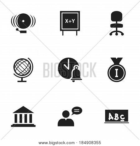 Set Of 9 Editable School Icons. Includes Symbols Such As Museum, School Board, Earth Planet And More. Can Be Used For Web, Mobile, UI And Infographic Design.