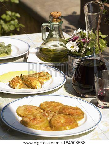 Traditional stuffed Italian zucchini flowers