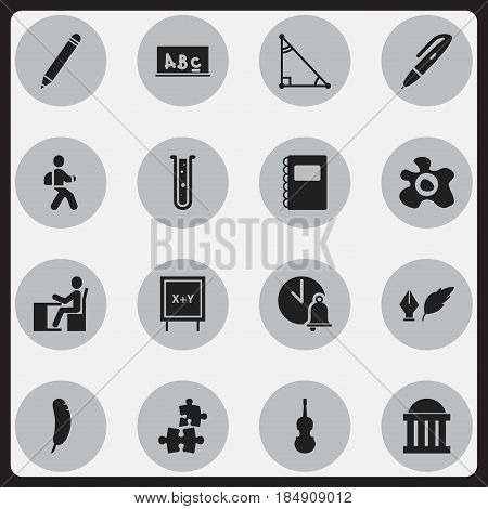 Set Of 16 Editable School Icons. Includes Symbols Such As School Board, Blackboard, Disciple And More. Can Be Used For Web, Mobile, UI And Infographic Design.