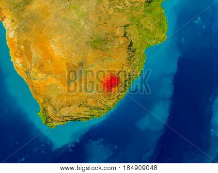 Lesotho On Physical Map