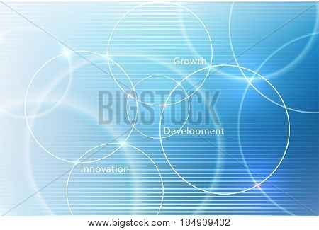 Abstract vector background for design, graphic layout. Modern abstract art with blur blue shapes for tech, market, innovative technology. Circles, rounds, lines.