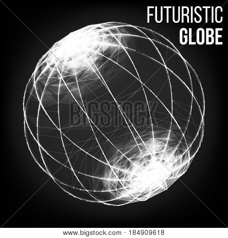 Big Data Visualization Abstract Vector Background. Dots Array And Lines. Abstract Sphere Shape