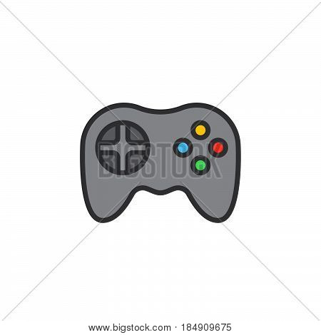Video game symbol. Gamepad line icon filled outline vector sign linear colorful pictogram isolated on white. Logo illustration