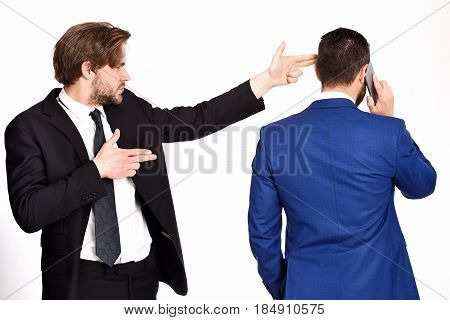 Criminal Business, Conspiracy, Man With Gun Gesture Shooting Busy Businessman