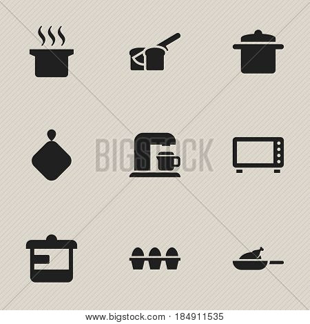 Set Of 9 Editable Cooking Icons. Includes Symbols Such As Grill, Cookware, Soup Pot And More. Can Be Used For Web, Mobile, UI And Infographic Design.