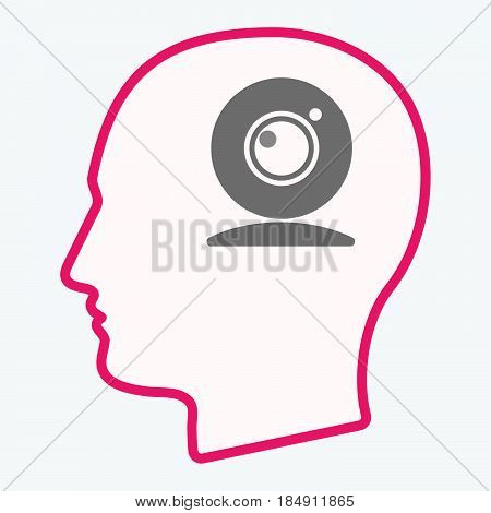 Isolated  Head With A Web Cam