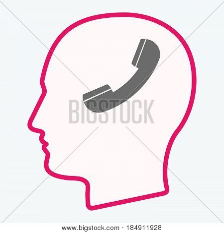 Isolated  Head With A Phone