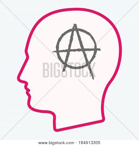 Isolated  Head With An Anarchy Sign