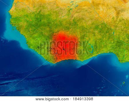 Ivory Coast On Physical Map