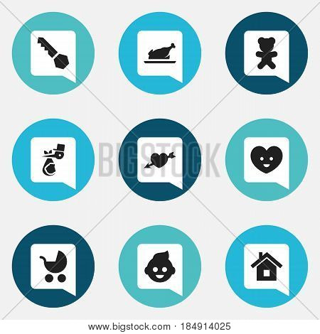 Set Of 9 Editable Family Icons. Includes Symbols Such As Child, Perambulator, Soul And More. Can Be Used For Web, Mobile, UI And Infographic Design.