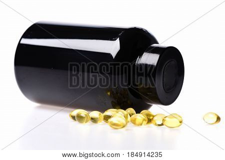 Cod Fish Oil In Omega Capsule In Black Plastic Jar