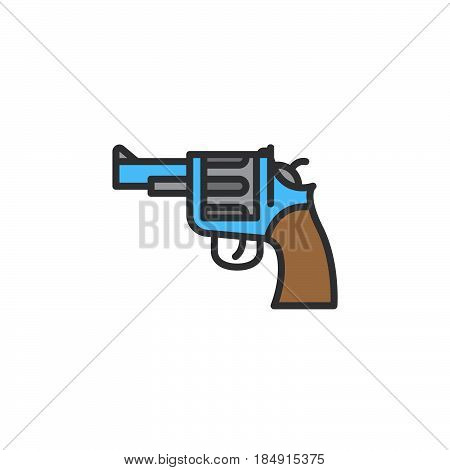 Gun revolver line icon filled outline vector sign linear colorful pictogram isolated on white. Symbol logo illustration