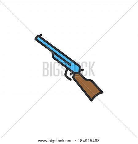 Shotgun carbine line icon filled outline vector sign linear colorful pictogram isolated on white. Symbol logo illustration