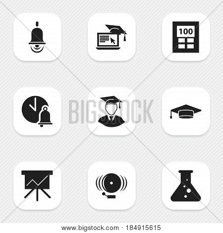 Set Of 9 Editable Science Icons. Includes Symbols Such As Distance Learning, Diplomaed Male, Graduate And More. Can Be Used For Web, Mobile, UI And Infographic Design.
