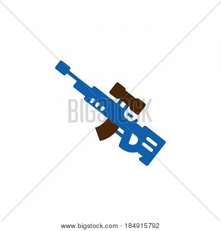 Sniper rifle icon vector filled flat sign solid colorful pictogram isolated on white. Symbol logo illustration