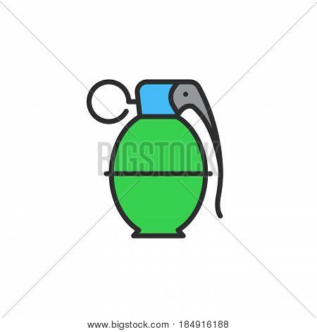 Hand grenade line icon filled outline vector sign linear colorful pictogram isolated on white. Symbol logo illustration