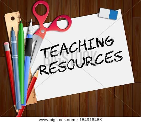 Teaching Resources Paper Shows Classroom Materials 3D Illustration